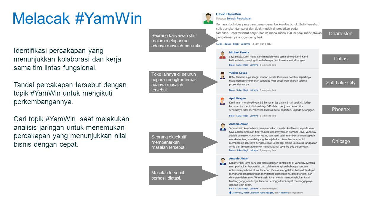 Melacak #YamWin Identifikasi percakapan yang menunjukkan kolaborasi dan kerja sama tim lintas fungsional.