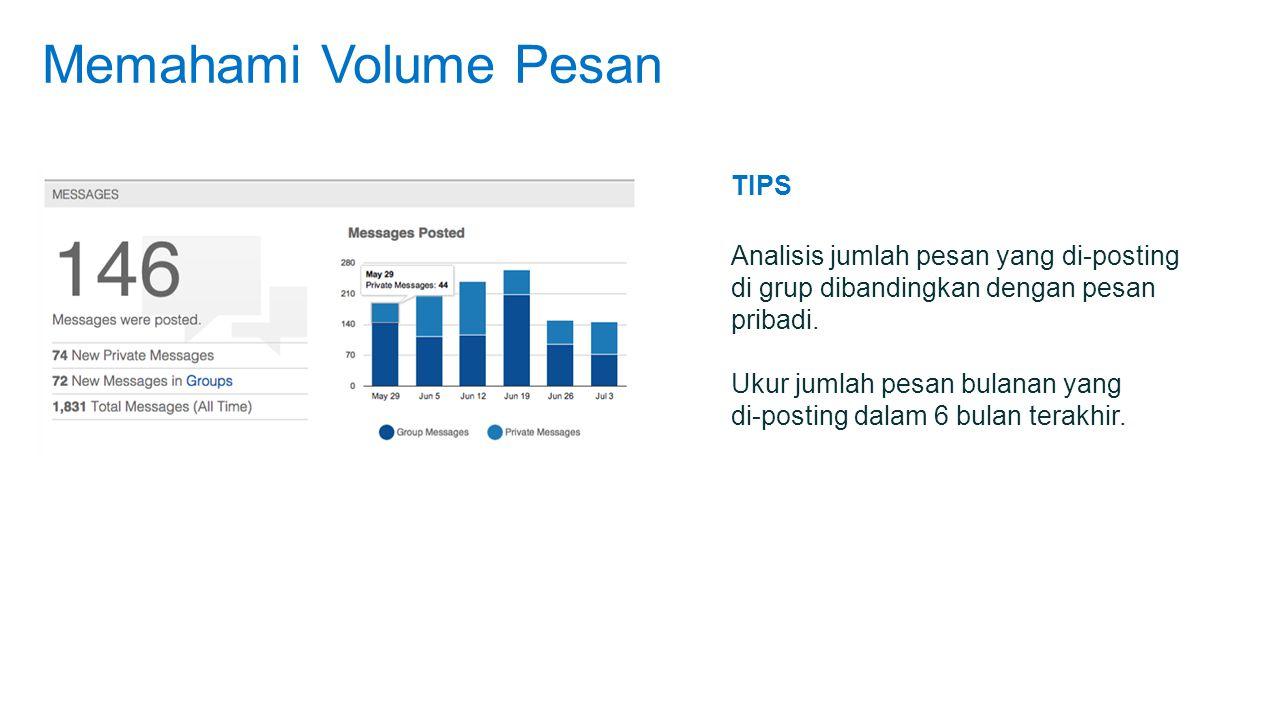 Memahami Volume Pesan TIPS Analisis jumlah pesan yang di-posting di grup dibandingkan dengan pesan pribadi.