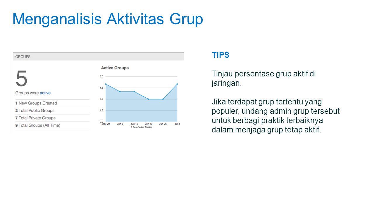 Menganalisis Aktivitas Grup TIPS Tinjau persentase grup aktif di jaringan.