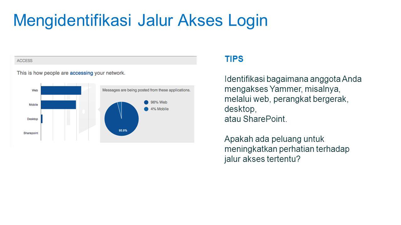 Mengidentifikasi Jalur Akses Login TIPS Identifikasi bagaimana anggota Anda mengakses Yammer, misalnya, melalui web, perangkat bergerak, desktop, atau SharePoint.