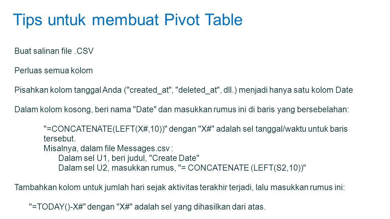 Tips untuk membuat Pivot Table Buat salinan file.CSV Perluas semua kolom Pisahkan kolom tanggal Anda ( created_at , deleted_at , dll.) menjadi hanya satu kolom Date Dalam kolom kosong, beri nama Date dan masukkan rumus ini di baris yang bersebelahan: =CONCATENATE(LEFT(X#,10)) dengan X# adalah sel tanggal/waktu untuk baris tersebut.