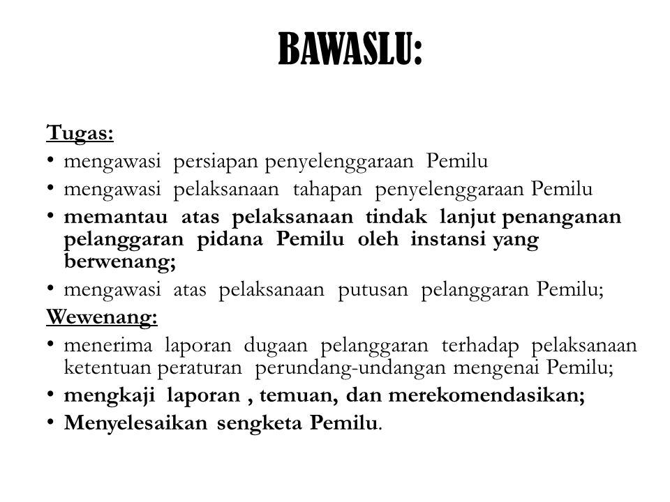Bawaslu: Kewajiban: a.bersikap tidak diskriminatif dalam menjalankan tugas dan wewenangnya; b.