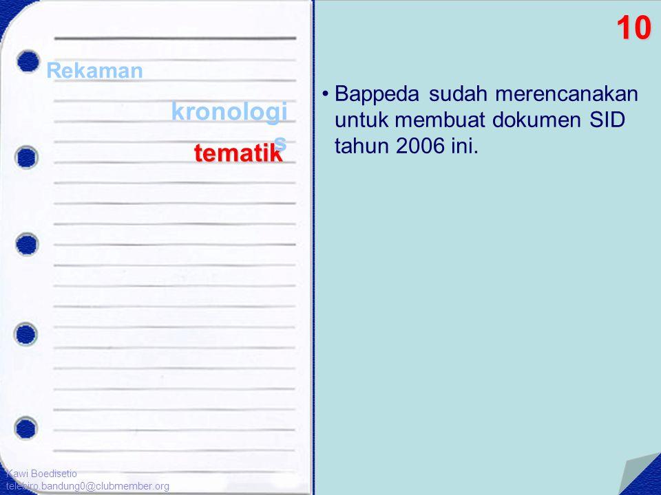 •Bappeda sudah merencanakan untuk membuat dokumen SID tahun 2006 ini. 10 Rekaman tematik Kawi Boedisetio telebiro.bandung0@clubmember.org kronologi s