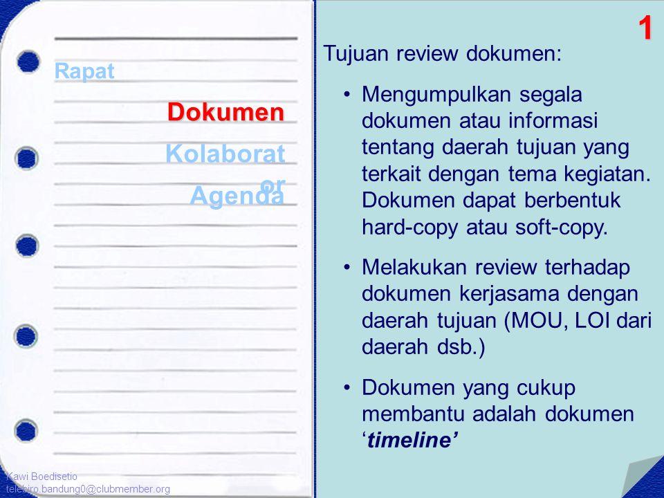 Dokumen Kolaborat or Agenda Tujuan review dokumen: •Mengumpulkan segala dokumen atau informasi tentang daerah tujuan yang terkait dengan tema kegiatan