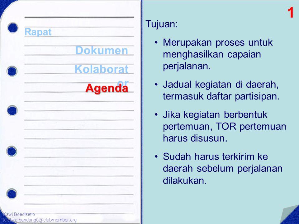 Tujuan: •Merupakan proses untuk menghasilkan capaian perjalanan. •Jadual kegiatan di daerah, termasuk daftar partisipan. •Jika kegiatan berbentuk pert