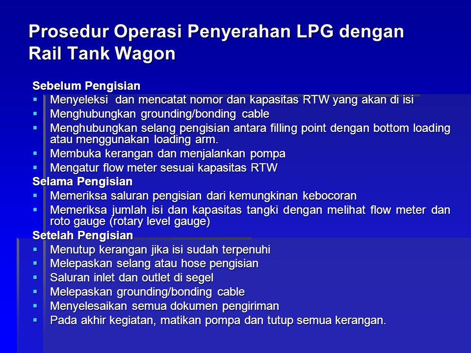 Prosedur Operasi Penyerahan LPG dengan Rail Tank Wagon Sebelum Pengisian  Menyeleksi dan mencatat nomor dan kapasitas RTW yang akan di isi  Menghubu