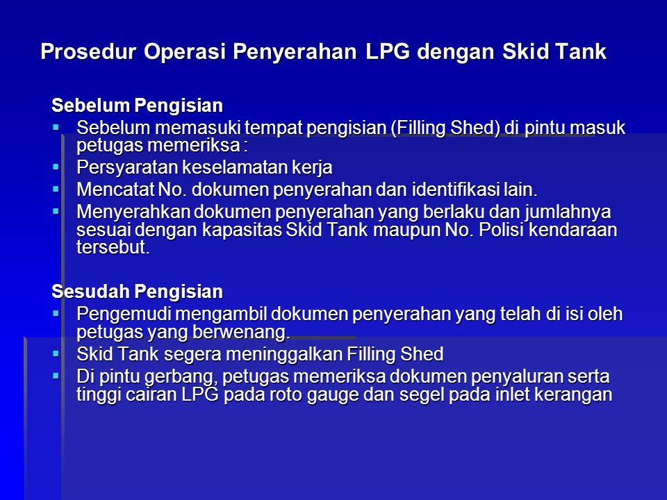 Prosedur Operasi Penyerahan LPG dengan Skid Tank Sebelum Pengisian  Sebelum memasuki tempat pengisian (Filling Shed) di pintu masuk petugas memeriksa