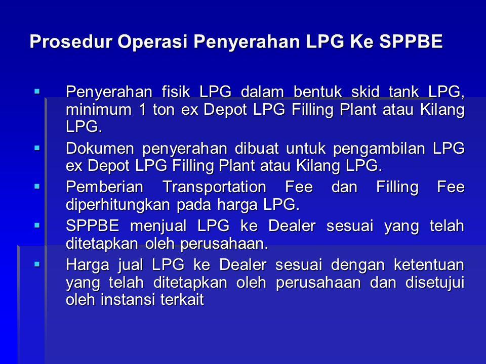 Prosedur Operasi Penyerahan LPG Ke SPPBE  Penyerahan fisik LPG dalam bentuk skid tank LPG, minimum 1 ton ex Depot LPG Filling Plant atau Kilang LPG.