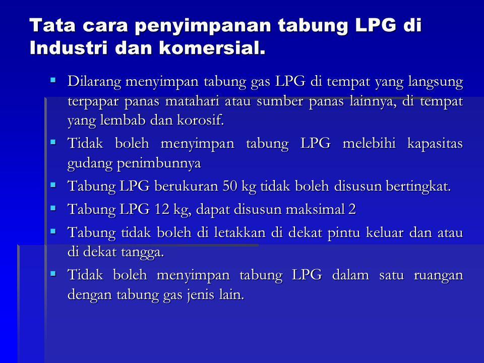 Tata cara penyimpanan tabung LPG di Industri dan komersial.  Dilarang menyimpan tabung gas LPG di tempat yang langsung terpapar panas matahari atau s