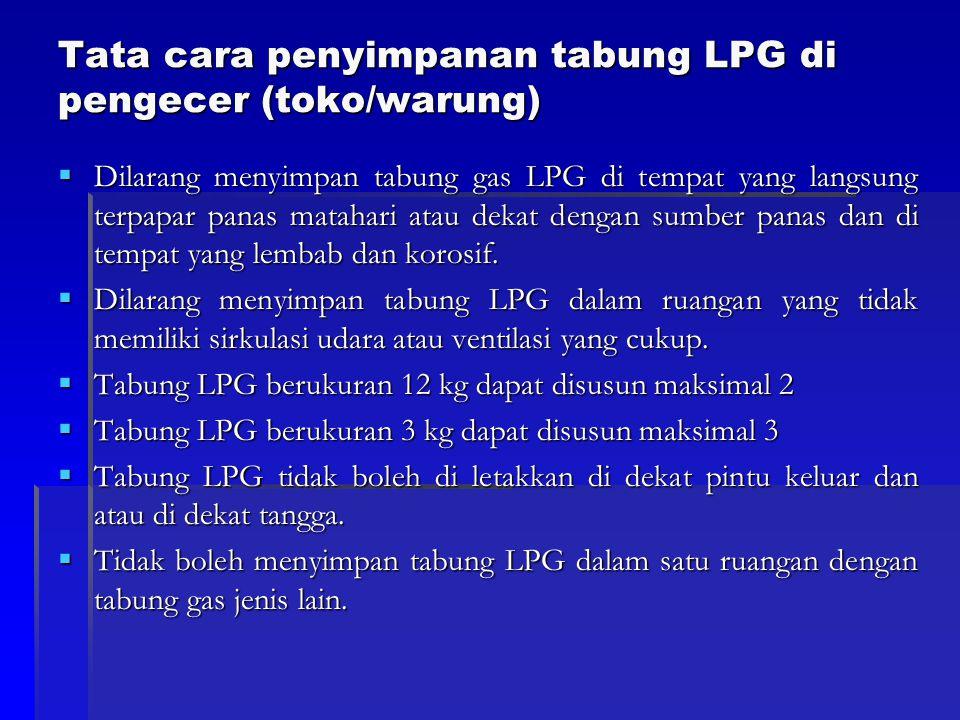 Tata cara penyimpanan tabung LPG di pengecer (toko/warung)  Dilarang menyimpan tabung gas LPG di tempat yang langsung terpapar panas matahari atau de