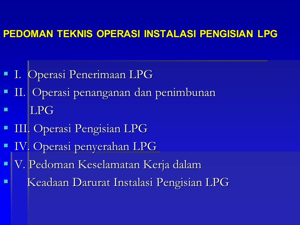 PEDOMAN TEKNIS OPERASI INSTALASI PENGISIAN LPG  I. Operasi Penerimaan LPG  II. Operasi penanganan dan penimbunan  LPG  III. Operasi Pengisian LPG