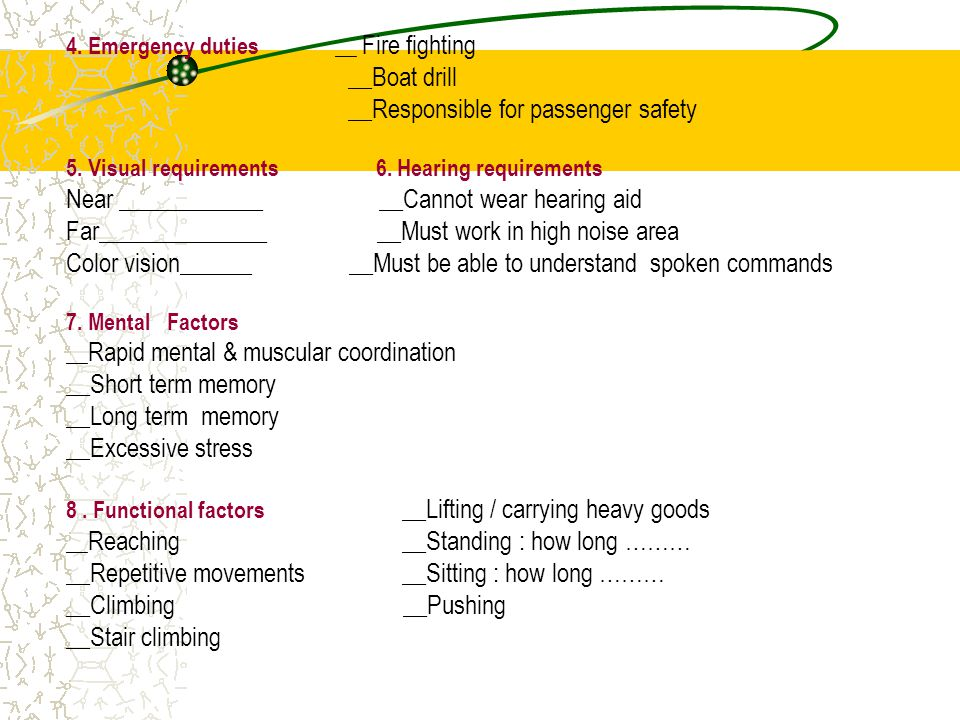 4.Emergency duties __ Fire fighting __Boat drill __Responsible for passenger safety 5.