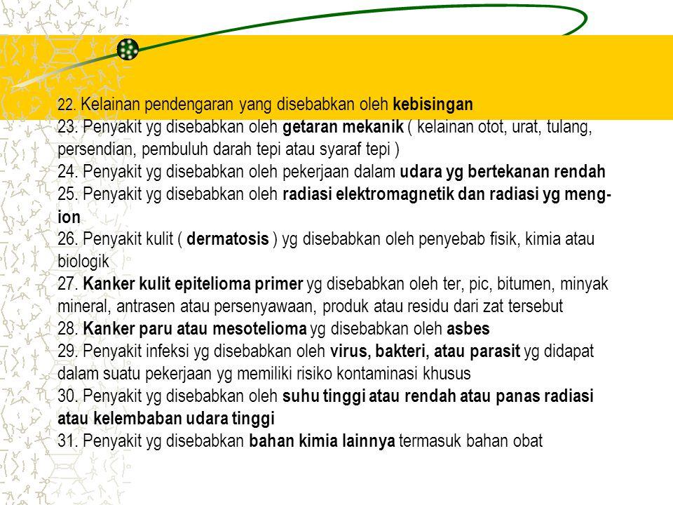 22. Kelainan pendengaran yang disebabkan oleh kebisingan 23. Penyakit yg disebabkan oleh getaran mekanik ( kelainan otot, urat, tulang, persendian, pe