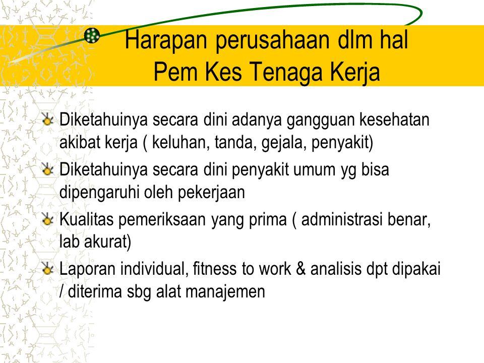 Peraturan perundangan di Indonesia tentang beberapa jenis pemeriksaan kesehatan pra kerja Keputusan Menakertrans No.