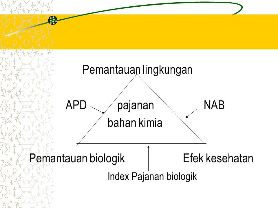 Pemantauan lingkungan APD pajanan NAB bahan kimia Pemantauan biologik Efek kesehatan Index Pajanan biologik