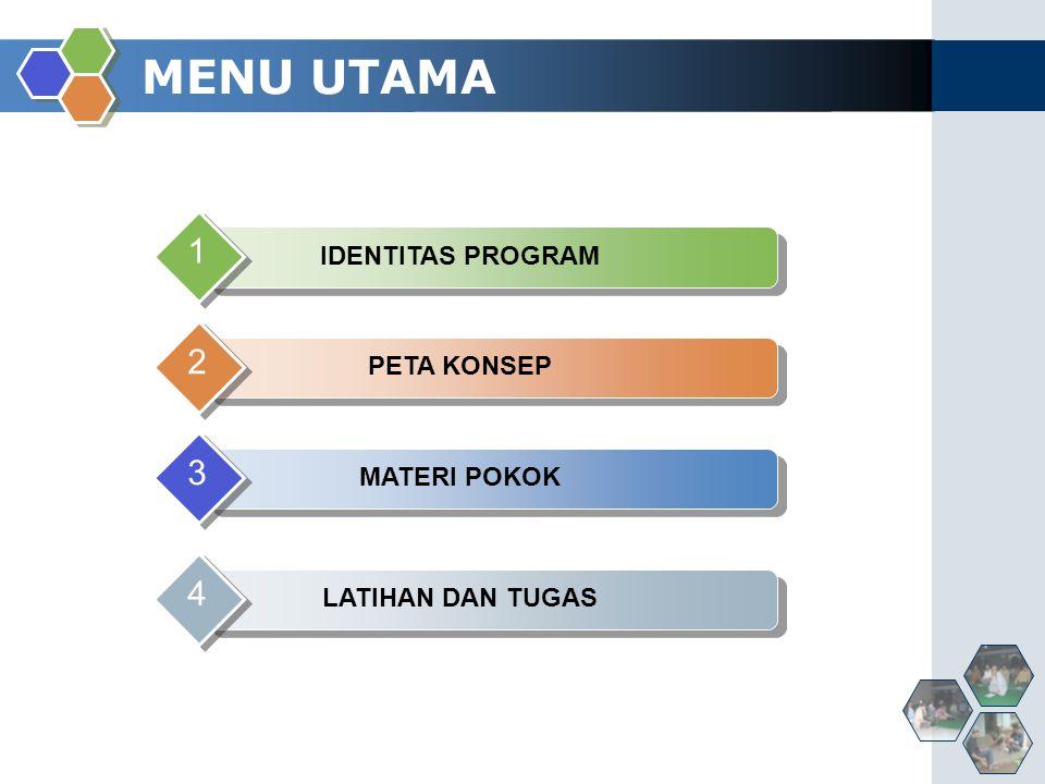 MENU UTAMA IDENTITAS PROGRAM 1 PETA KONSEP 2 MATERI POKOK 3 LATIHAN DAN TUGAS 4