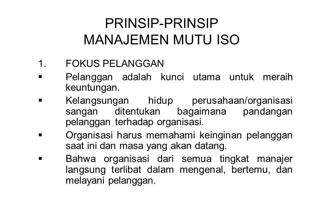 PRINSIP-PRINSIP MANAJEMEN MUTU ISO 1.FOKUS PELANGGAN  Pelanggan adalah kunci utama untuk meraih keuntungan.  Kelangsungan hidup perusahaan/organisas