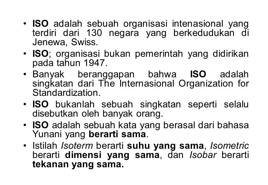 •ISO adalah sebuah organisasi intenasional yang terdiri dari 130 negara yang berkedudukan di Jenewa, Swiss. •ISO; organisasi bukan pemerintah yang did