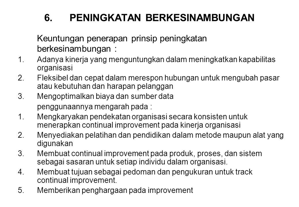 6.PENINGKATAN BERKESINAMBUNGAN Keuntungan penerapan prinsip peningkatan berkesinambungan : 1.Adanya kinerja yang menguntungkan dalam meningkatkan kapa