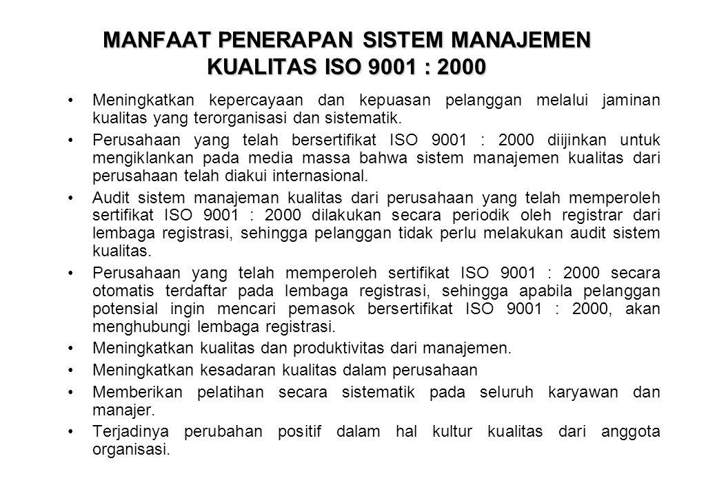 MANFAAT PENERAPAN SISTEM MANAJEMEN KUALITAS ISO 9001 : 2000 •Meningkatkan kepercayaan dan kepuasan pelanggan melalui jaminan kualitas yang terorganisa