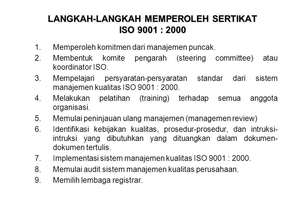 LANGKAH-LANGKAH MEMPEROLEH SERTIKAT ISO 9001 : 2000 1.Memperoleh komitmen dari manajemen puncak. 2.Membentuk komite pengarah (steering committee) atau