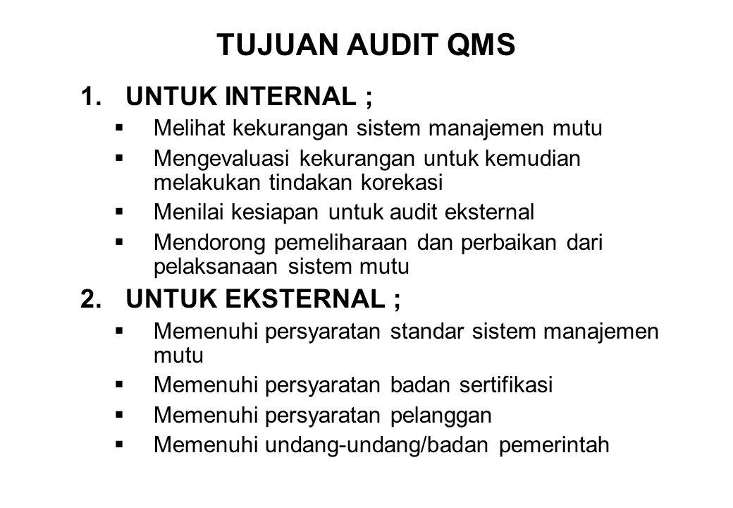 TUJUAN AUDIT QMS 1.UNTUK INTERNAL ;  Melihat kekurangan sistem manajemen mutu  Mengevaluasi kekurangan untuk kemudian melakukan tindakan korekasi 
