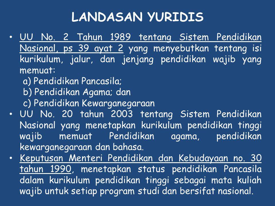 LANDASAN YURIDIS • UU No. 2 Tahun 1989 tentang Sistem Pendidikan Nasional, ps 39 ayat 2 yang menyebutkan tentang isi kurikulum, jalur, dan jenjang pen