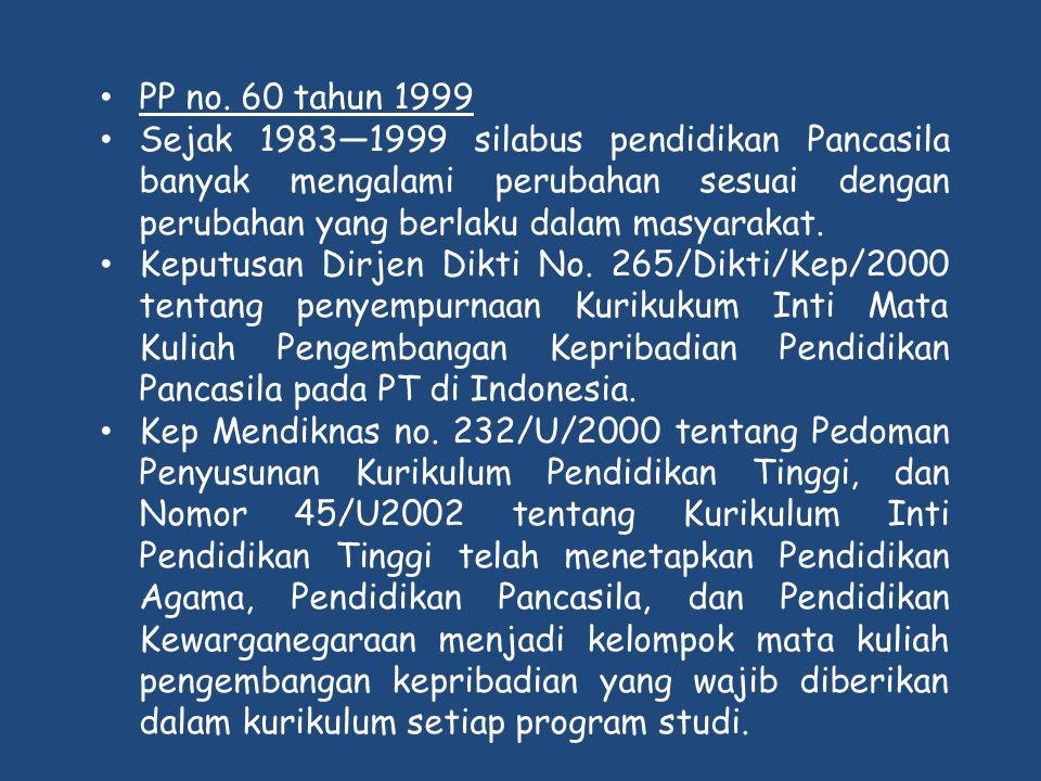 • PP no. 60 tahun 1999 • Sejak 1983—1999 silabus pendidikan Pancasila banyak mengalami perubahan sesuai dengan perubahan yang berlaku dalam masyarakat