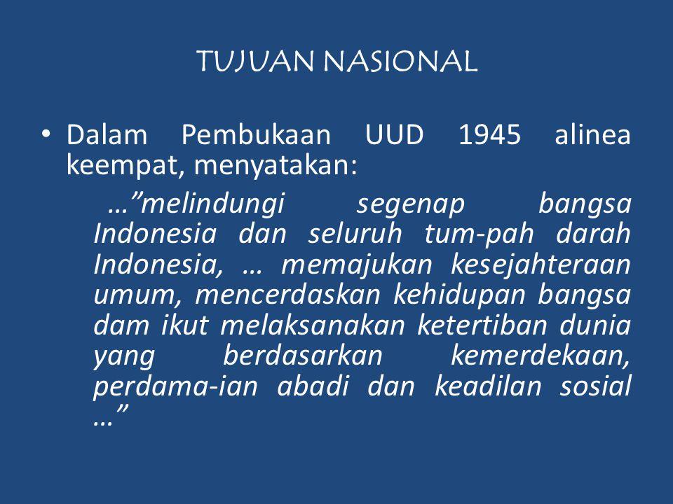 """TUJUAN NASIONAL • Dalam Pembukaan UUD 1945 alinea keempat, menyatakan: …""""melindungi segenap bangsa Indonesia dan seluruh tum-pah darah Indonesia, … me"""