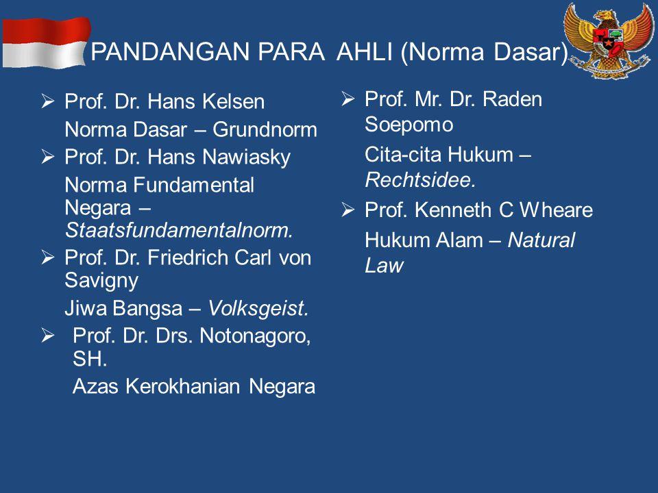 PANDANGAN PARA AHLI (Norma Dasar)  Prof. Dr. Hans Kelsen Norma Dasar – Grundnorm  Prof. Dr. Hans Nawiasky Norma Fundamental Negara – Staatsfundament