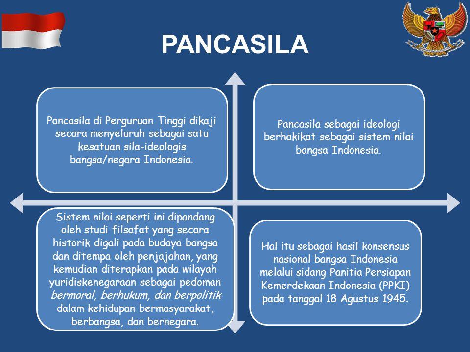 PANCASILA Pancasila di Perguruan Tinggi dikaji secara menyeluruh sebagai satu kesatuan sila-ideologis bangsa/negara Indonesia. Pancasila sebagai ideol