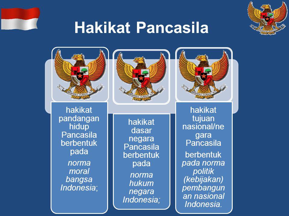 Hakikat Pancasila hakikat pandangan hidup Pancasila berbentuk pada norma moral bangsa Indonesia; hakikat dasar negara Pancasila berbentuk pada norma h