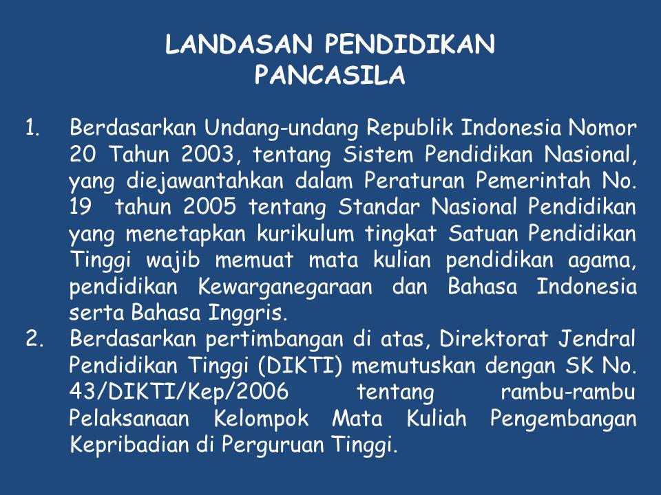 LANDASAN PENDIDIKAN PANCASILA 1.Berdasarkan Undang-undang Republik Indonesia Nomor 20 Tahun 2003, tentang Sistem Pendidikan Nasional, yang diejawantah