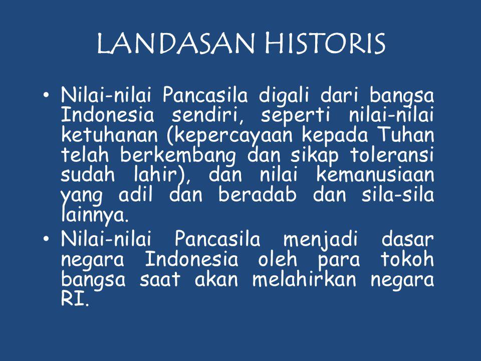 LANDASAN HISTORIS • Nilai-nilai Pancasila digali dari bangsa Indonesia sendiri, seperti nilai-nilai ketuhanan (kepercayaan kepada Tuhan telah berkemba