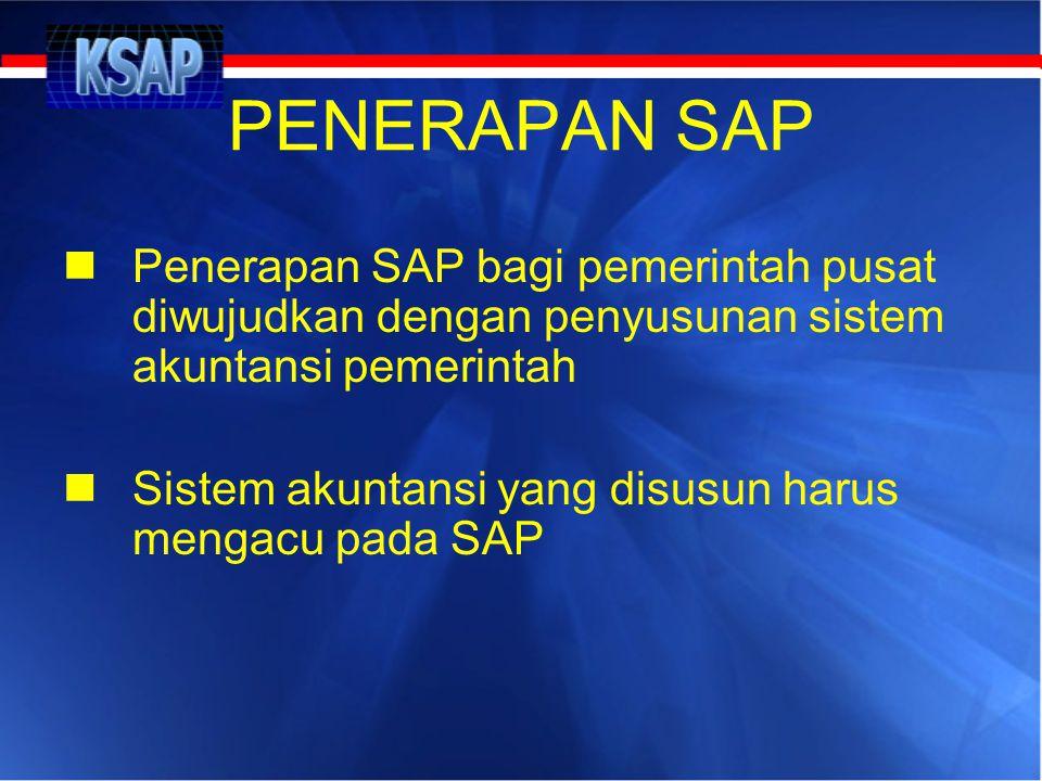PENERAPAN SAP  Penerapan SAP bagi pemerintah pusat diwujudkan dengan penyusunan sistem akuntansi pemerintah  Sistem akuntansi yang disusun harus men