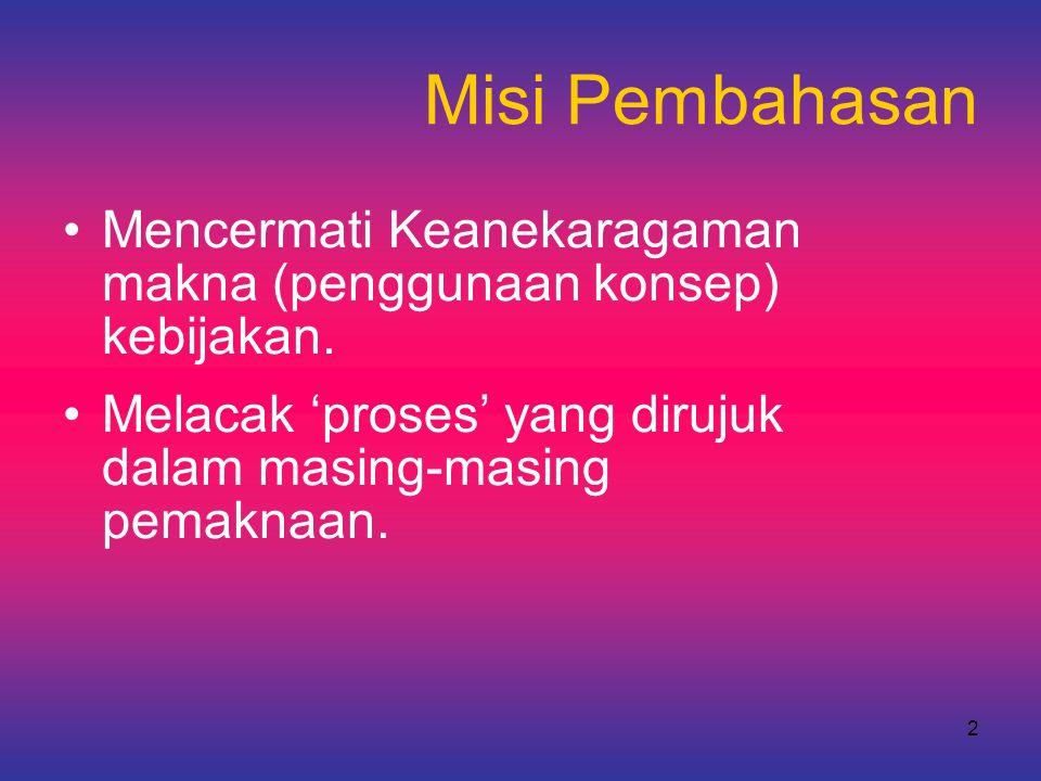 2 Misi Pembahasan •Mencermati Keanekaragaman makna (penggunaan konsep) kebijakan. •Melacak 'proses' yang dirujuk dalam masing-masing pemaknaan.