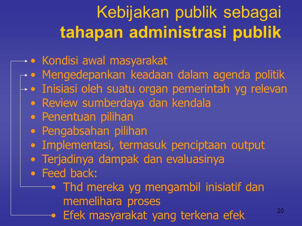 20 Kebijakan publik sebagai tahapan administrasi publik •Kondisi awal masyarakat •Mengedepankan keadaan dalam agenda politik •Inisiasi oleh suatu orga