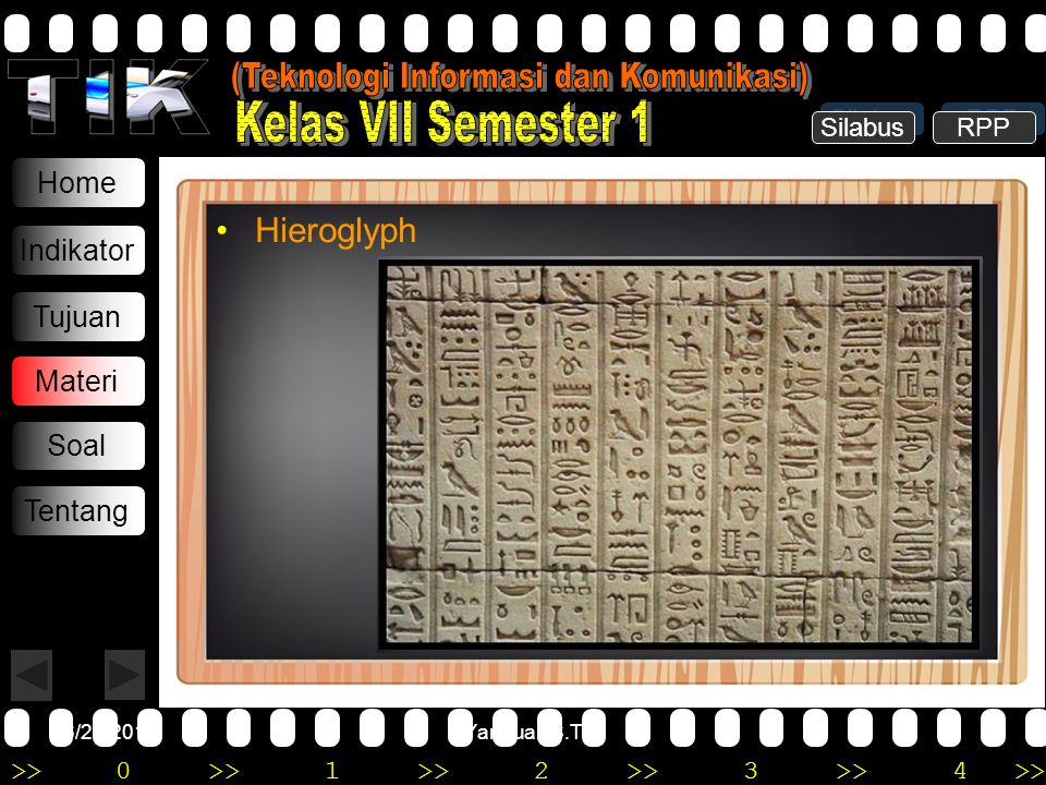 >>0 >>1 >> 2 >> 3 >> 4 >> 6/20/2014Yannuar, S.T Home Indikator Tujuan Materi Soal Tentang •Hieroglyph Silabus RPP