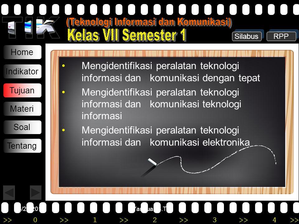 >>0 >>1 >> 2 >> 3 >> 4 >> 6/20/2014Yannuar, S.T Home Indikator Tujuan Materi Soal Tentang •Mengidentifikasi peralatan teknologi informasi dan komunika