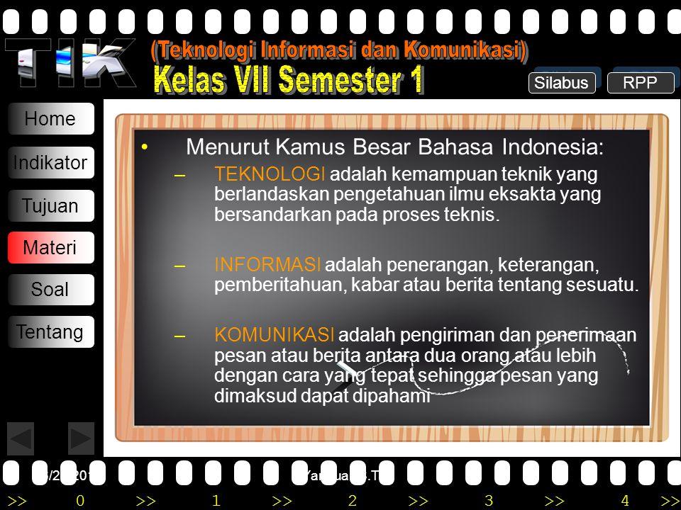 >>0 >>1 >> 2 >> 3 >> 4 >> 6/20/2014Yannuar, S.T Home Indikator Tujuan Materi Soal Tentang •M•Menurut Kamus Besar Bahasa Indonesia: –T–TEKNOLOGI adalah