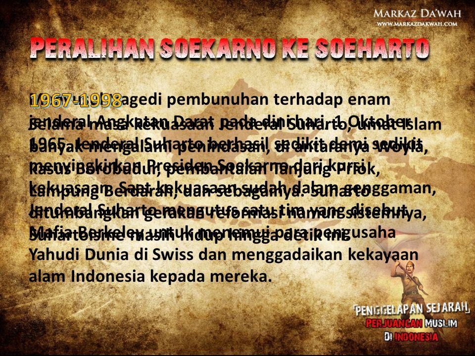 Menyusul tragedi pembunuhan terhadap enam jenderal Angkatan Darat pada dini hari, 1 Oktober 1965, Jenderal Suharto berhasil sedikit demi sedikit menyi