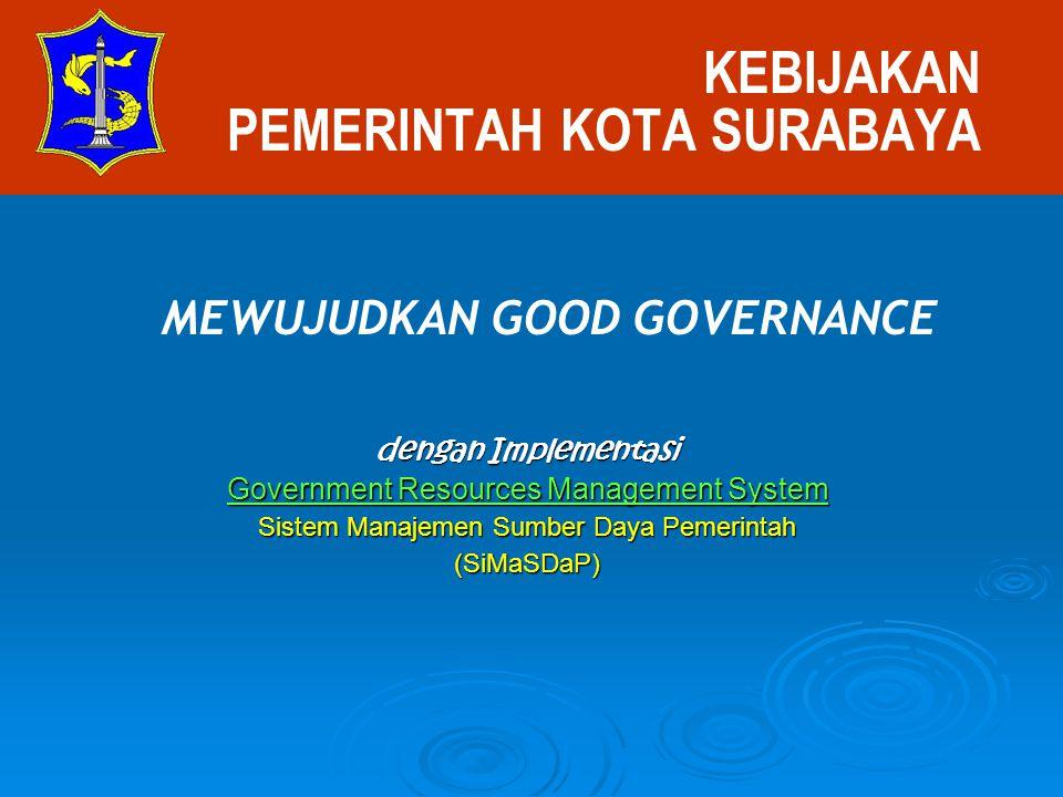 KEBIJAKAN PEMERINTAH KOTA SURABAYA dengan Implementasi Government Resources Management System Sistem Manajemen Sumber Daya Pemerintah (SiMaSDaP) MEWUJ