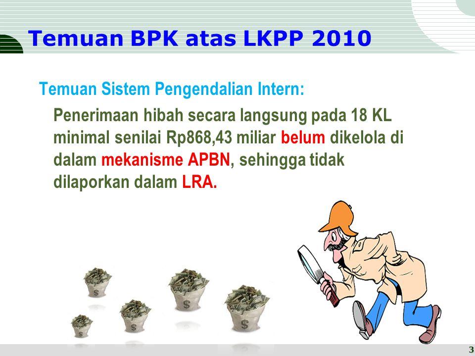 Temuan BPK atas LKPP 2010 Temuan Sistem Pengendalian Intern: Penerimaan hibah secara langsung pada 18 KL minimal senilai Rp868,43 miliar belum dikelola di dalam mekanisme APBN, sehingga tidak dilaporkan dalam LRA.