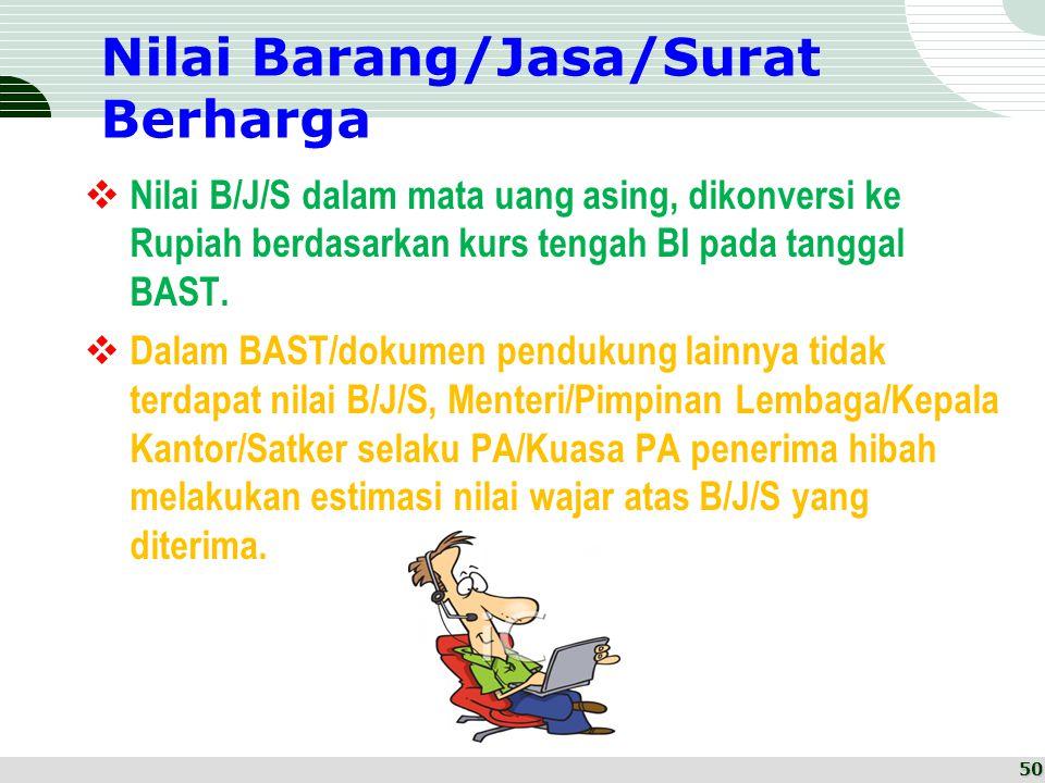 Nilai Barang/Jasa/Surat Berharga  Nilai B/J/S dalam mata uang asing, dikonversi ke Rupiah berdasarkan kurs tengah BI pada tanggal BAST.  Dalam BAST/