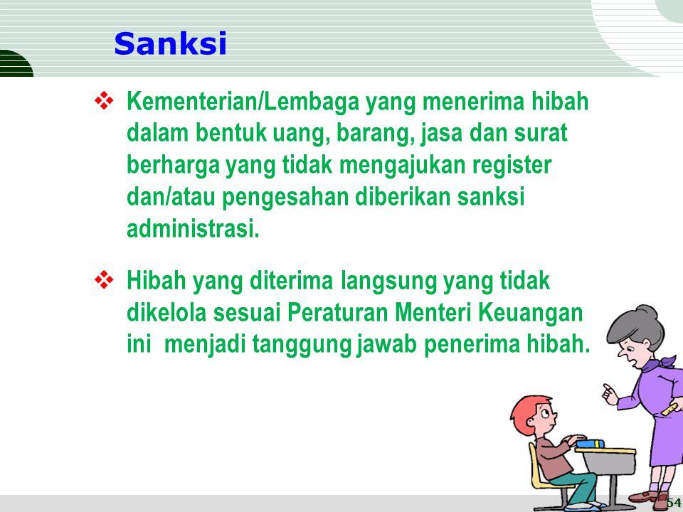 Sanksi  Kementerian/Lembaga yang menerima hibah dalam bentuk uang, barang, jasa dan surat berharga yang tidak mengajukan register dan/atau pengesahan