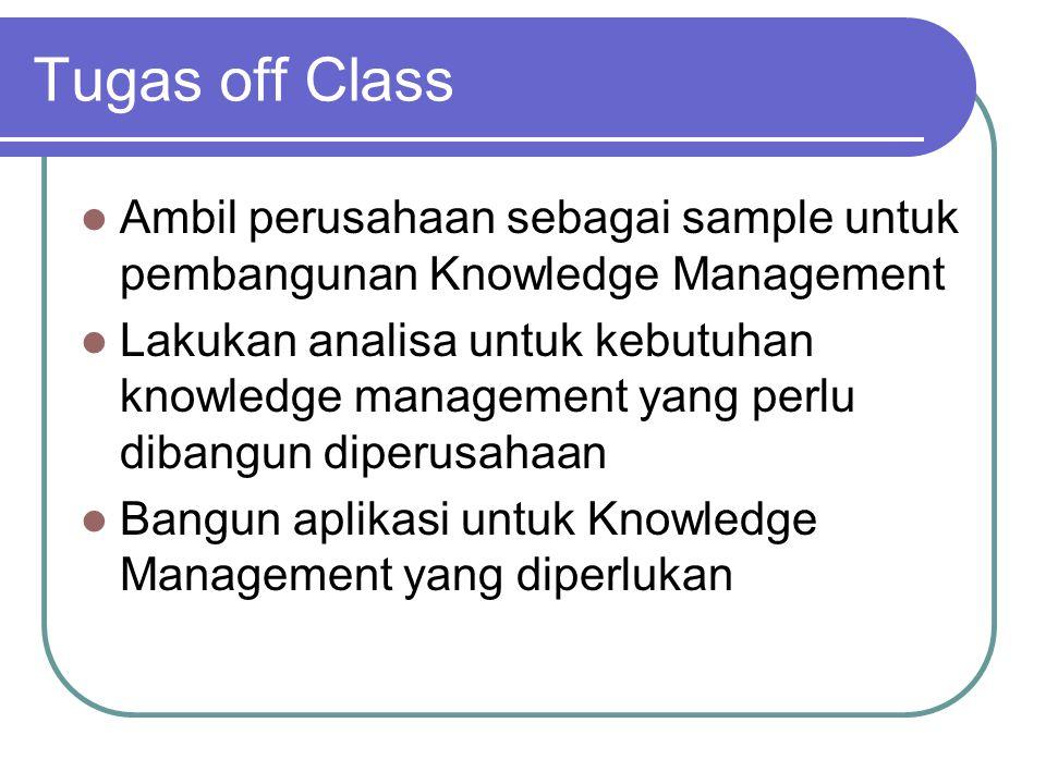 Tugas off Class  Ambil perusahaan sebagai sample untuk pembangunan Knowledge Management  Lakukan analisa untuk kebutuhan knowledge management yang perlu dibangun diperusahaan  Bangun aplikasi untuk Knowledge Management yang diperlukan