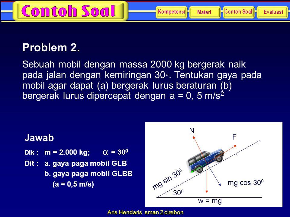 Aris Hendaris sman 2 cirebon Problem 2. Sebuah mobil dengan massa 2000 kg bergerak naik pada jalan dengan kemiringan 30◦. Tentukan gaya pada mobil aga