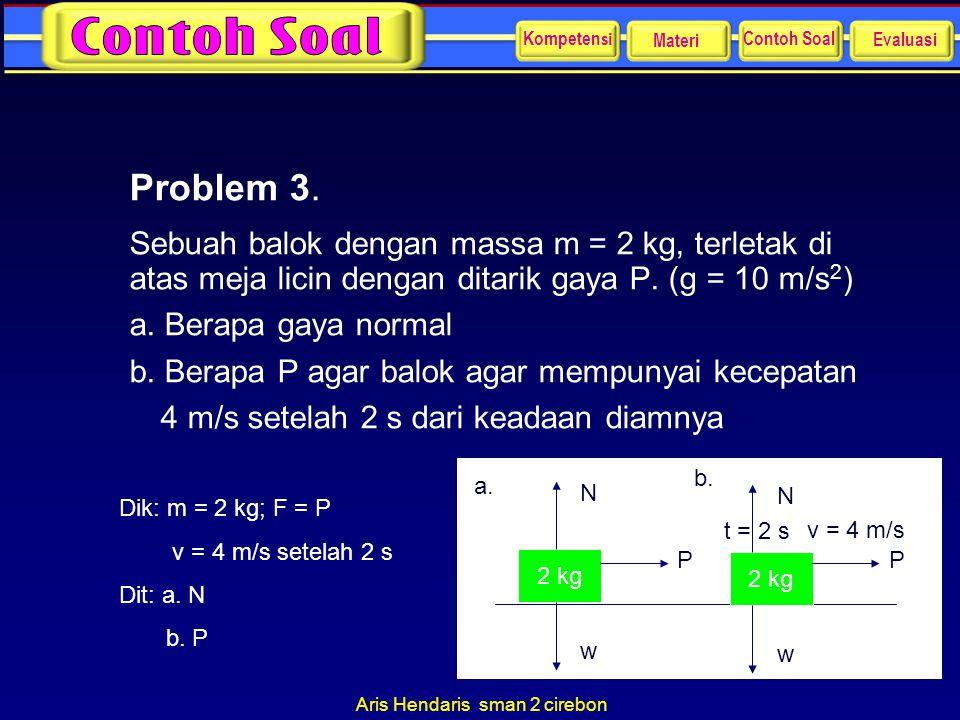 Aris Hendaris sman 2 cirebon Problem 3. Sebuah balok dengan massa m = 2 kg, terletak di atas meja licin dengan ditarik gaya P. (g = 10 m/s 2 ) a. Bera