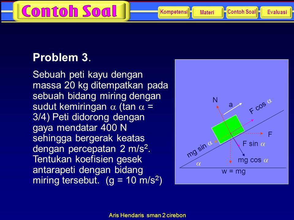 Aris Hendaris sman 2 cirebon Problem 3. Sebuah peti kayu dengan massa 20 kg ditempatkan pada sebuah bidang miring dengan sudut kemiringan  (tan  = 3