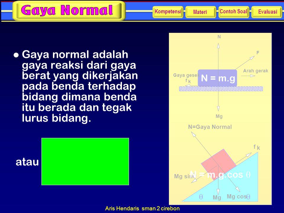 Aris Hendaris sman 2 cirebon l Gaya normal adalah gaya reaksi dari gaya berat yang dikerjakan pada benda terhadap bidang dimana benda itu berada dan t